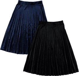 BGDK Womens 27 Inch Pleated Velour Skirt - BK-8001SA