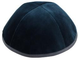 TCS Yarmulka - Velvet Dark Teal With Gray Rim
