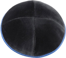 TCS Yarmulka - Velvet Grey With Royal Blue Rim