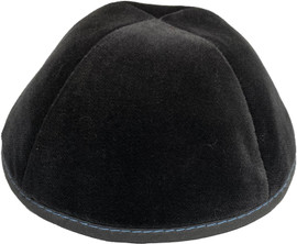 TCS Yarmulka - Velvet Grey With Medium Blue Stitching