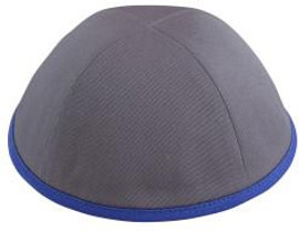 TCS Yarmulka - Cotton Grey With Royal Blue Rim