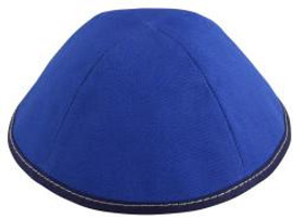 TCS Yarmulka - Cotton Royal Blue With Navy Rim With White Stitching