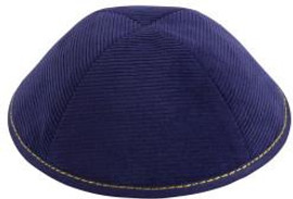 TCS Yarmulka - Corduroy Navy Rim With Yellow Stitching