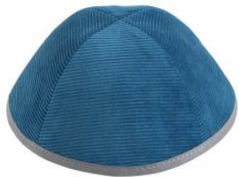 TCS Yarmulka - Corduroy Teal With Light Grey Rim