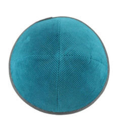 TCS Yarmulka - Corduroy Teal With Dark Grey Rim