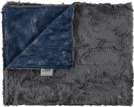 Velour Gala Steel Blue/Luxe Charcoal Blanket-SB9