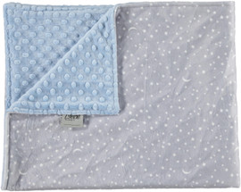 Minky Dot Light Blue/Moon And Stars Blue Blanket-SB22