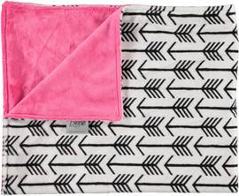 Solid Hot Pink/Arrows White & Black Blanket-SB23
