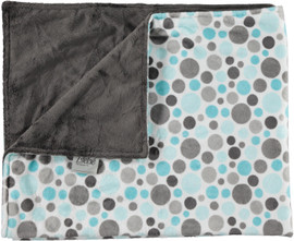 Solid Charcoal/Multi Dot Aqua Blanket-SB27