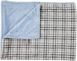 Solid Light Blue/Houndstooth Gray Blanket-SB28