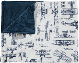 Outlined Vehicles Navy/Solid Navy  Blanket-SB33