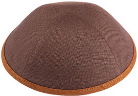 iKippah Boys Linen Brown With Camel Rim