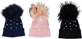 MC Ribbed Knit Unisex Hat With Pearls & Pompom- PM-192280