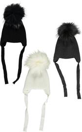MC Ribbed Unisex Baby Pompom Hat w/Straps - BR-H201