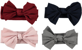 Riqki Girls Thin Ribbed Bow Headband - HB2036