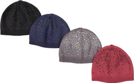 Max Colors Girls Rhinestone Winter Hat with Snap for Pompom