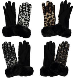 Riqki Women's Cheetah Print Fur Gloves-GL150