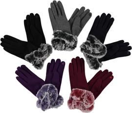 Womens Gloves Fur Cuff Thermal-GL105
