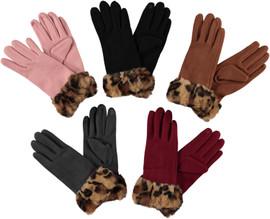 Riqki Womens Leopard Fur Gloves - GL151