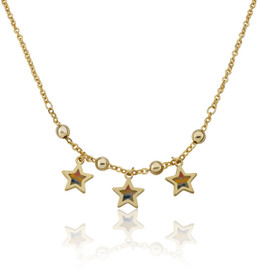 Girls Enamel Star Chain Necklace - NE4401B-GP