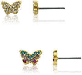 Girls Crystal CZ Filled Heart Stud Earring - ER6858B