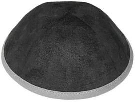 TCS Yarmulka -Suede Black With Grey Rim