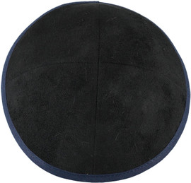 TCS Yarmulka -Suede Black With Navy Rim