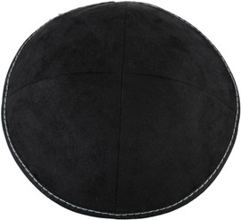 TCS Yarmulka -Suede Black With White Stitching