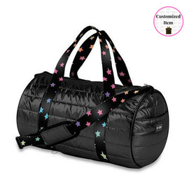Puffer Duffel bag with scatter stars straps - DUF-PUFFBLACKSCATTR