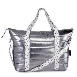 Puffer Tote bags Gun Metal with White Grey Star Strap - PUFF-TOTEGREYSTAR