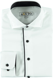 Akuto Boys Long Sleeve Dress Shirt with Black Contrast