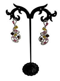 Filigree PYB Silver Plated Rhinestone Earrings (SET83269EW)