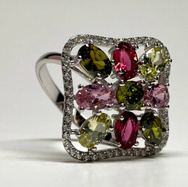 Rhinestone Square Ring