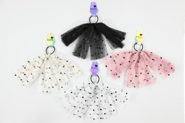 Girls Polka Dot Tulle Pony w/Tails