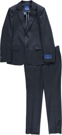 Boys Navy Fancy Knit Slim Suit