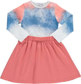 Girls Watercolor Cotton Dress
