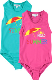 Girls Hello Summer Bathing Suit