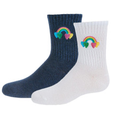 Girls Rainbow Patch Crew Sock