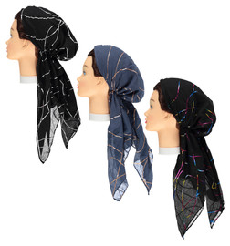 Foil Swirls Pre-tied Headscarves