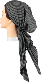 Riqki Cotton Grey Black Stripe Long Tails Pre-Tied Bandana - Y1206
