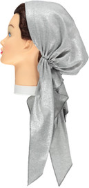 Riqki  Light Grey Ribbed With Silver Foil Long Tails Pre-Tied Bandana - Y1214