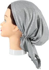 Riqki  Light Grey Ribbed With Silver Foil Pre-Tied Bandana - Y1215