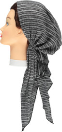 Riqki Greys Stripe Ribbed Lurex Long Tails Pre-Tied Bandana - Y1218
