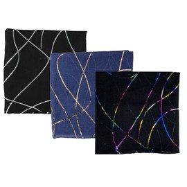 Black Foil Swirls Open Headscarves