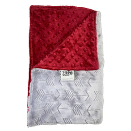 Embossed Silver/Minky Red Blanket-SB37