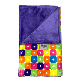 Squares Neon/ Solid Purple Blanket-SB41