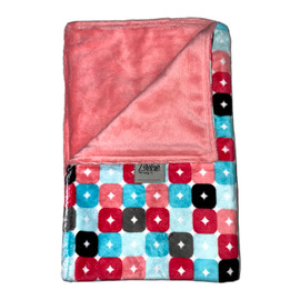 Squares Pink /Solid Medium Pink Blanket-SB47