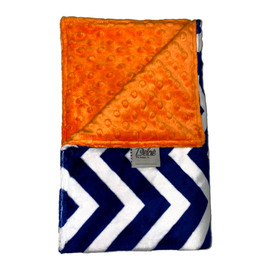 Chevron Navy White/Orange Minky Dot Blanket-SB48