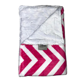 Chevron Hot Pink White/Embossed Arrows White Blanket-SB49