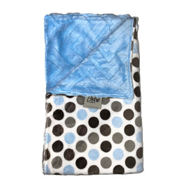 Polka Dot Grey/Chevron Embossed Blue Blanket-SB50
